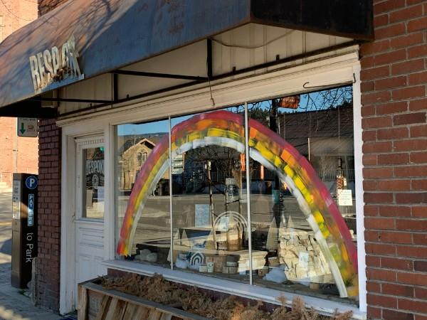 Rainbow painted on storefront window