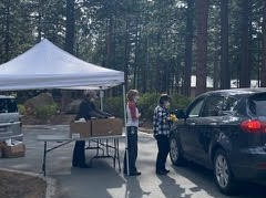 Meals being delivered at drive-up site