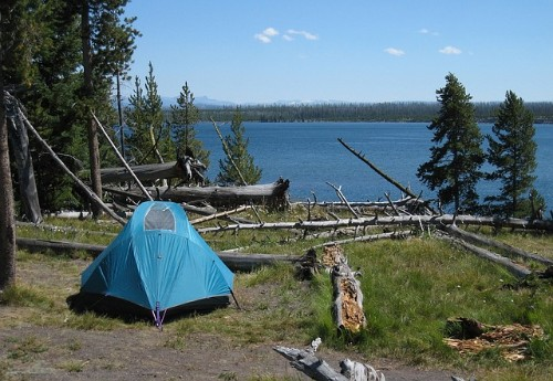 tent at lakeside campground