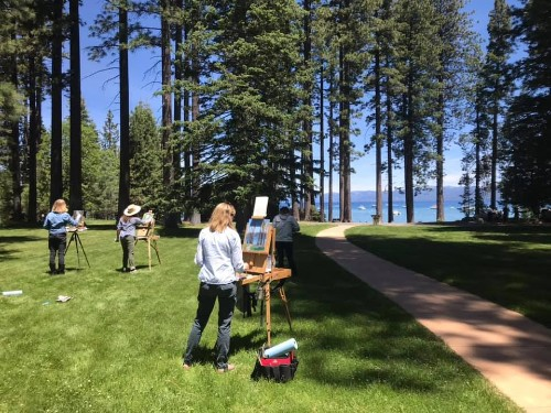 Artists painting outside Valhalla site at Tahoe