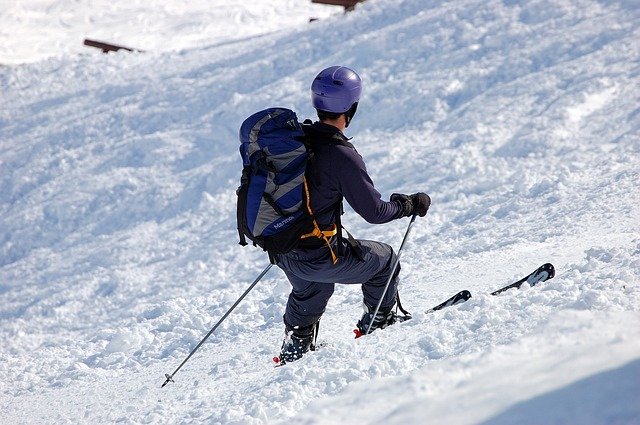 skier with a backpack