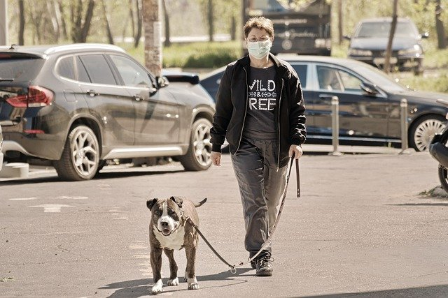 woman walking dog with face mask on