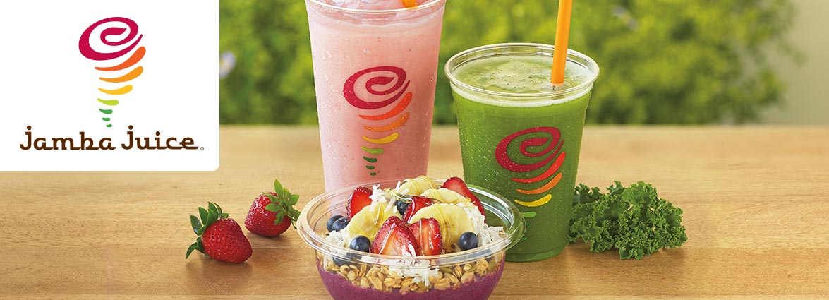 Healthy breakfast, quick lunch or a delicious snack. Try Jamba Juice fruit smoothies, all-natural baked goods, steel-cut oatmeal, sandwiches and other healthy choices for an active lifestyle.