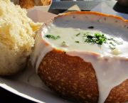 Clam Chowder in Sourdough Bread Bowl - Boathouse at Captain Jon's