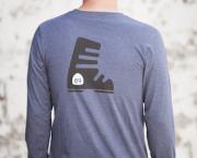 Men's Long Sleeve Tshirt, Ca89 Shield Front, Ski Boot Back - California 89