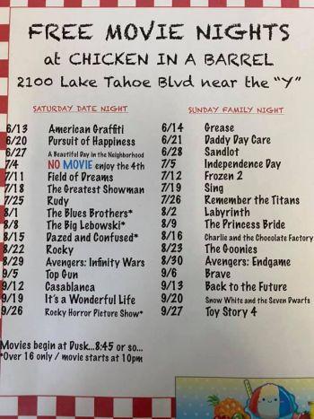 Chicken In A Barrel, Family Movie Night