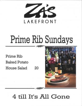 Za's Lakefront, Prime Rib Sundays