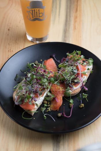 Alibi Ale Works, Cured Salmon Toast