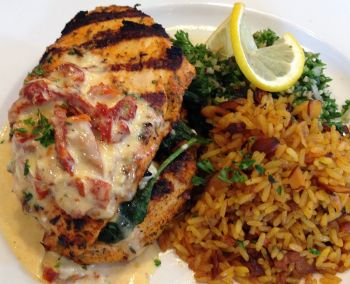 Artemis Lakefront Cafe, Feta and Spinach Stuffed Chicken Breast