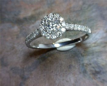 Bluestone Jewelry, Diamond Engagement Ring With a Diamond Halo