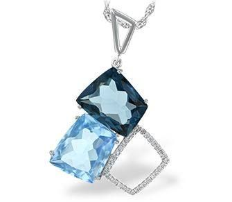 Bluestone Jewelry, London, Swiss Blue Topaz & Diamond Freeform