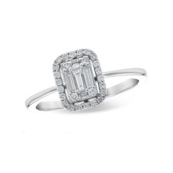 Bluestone Jewelry, Baguette and Round Diamonds Engagement Ring