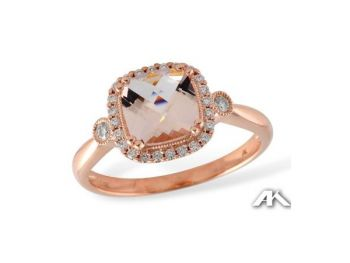 Bluestone Jewelry & Wine, Rose Gold Morganite Ring with diamond shoulders
