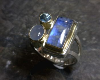 Bluestone Jewelry & Wine, Rainbow Moonstone Rings