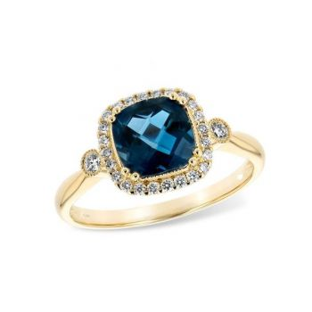 Bluestone Jewelry, London Blue Topaz and Diamonds Ring in 14k Yellow Gold