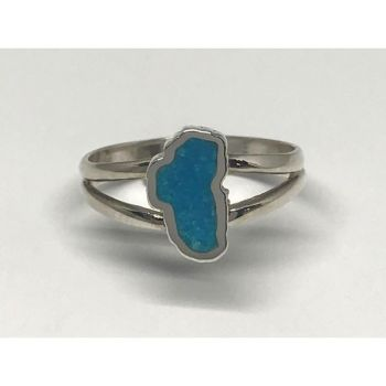 Bluestone Jewelry, Small Turquoise Lake Tahoe Ring in Sterling Silver
