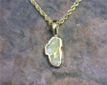 Bluestone Jewelry & Wine, Small 14 Karat Yellow Gold Lake Tahoe Pendant with Gold Quartz