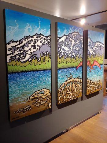 "Benko Art Gallery, ""Prehistoric Tessie"" tryptich by John Benko"
