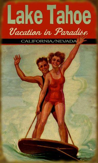 Cabin Fever Tahoe City, Vintage Tahoe Wall Art