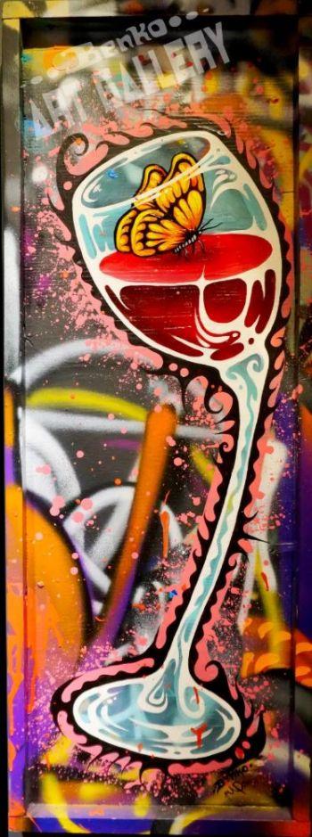 "Benko Art Gallery, ""Drunk Butterfly III"" Original Painting"