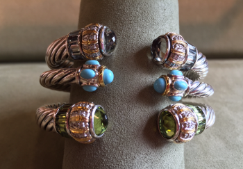 Bluestone Jewelry & Wine, Cable & Stone Cuffs