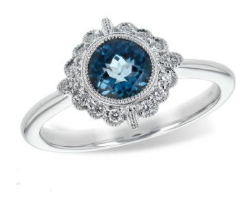 Bluestone Jewelry & Wine, London Blue Topaz & Diamonds Ring