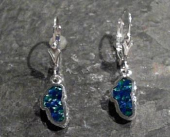 Bluestone Jewelry & Wine, Small Lab-Grown Opal Lake Tahoe Lever Back Earrings