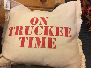 Mountain Home Center, On Truckee Time, Throw Pillow