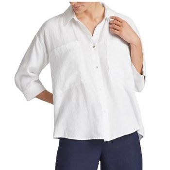 Sidestreet Boutique, Organic Linen Tencel Crepe Boxy Shirt