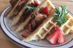 Crosby's Tavern, Fried Chicken & Waffles with 2 Eggs, House Made Maple Bourbon Syrup, Rosemary